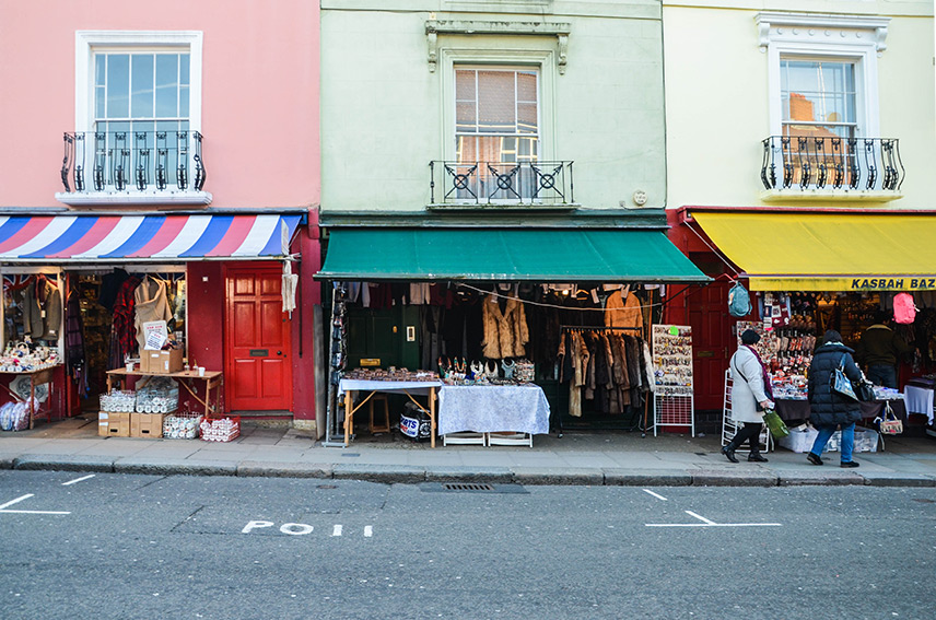 Notting Hill Shop Fronts Wide Shot
