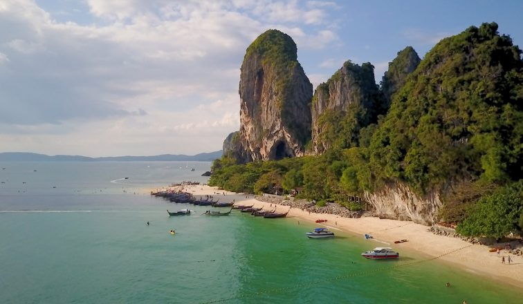 Tropical Beach in Thailand with Limestone Cliffs | Railay Beach In Thailand | Shorts | Thailand Travel Video | ANYDOKO