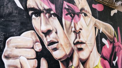Bruce Lee fighting pink street art mural | This Is Sheung Wan Street Art | This Is | Hong Kong Travel Video | ANYDOKO