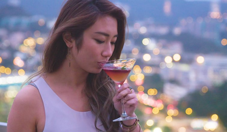 Phoebe Miu Drinking Cocktail in Hong Kong | Best Rooftop Bars In Hong Kong | Hong Kong Travel Video | ANYDOKO