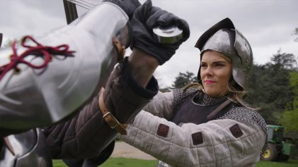Emily Sword Fighting at Warwick Castle | Discover | Contiki & Visit Britain | ANYDOKO